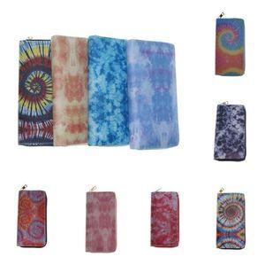 Gradient Color Designer Wallet Tie-dye PU Zipper Purse for Women Long Wallets with Card Slot Handbags Coin Bag Credit Card Holder E112406