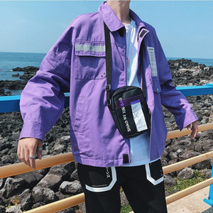 Men Purple Japanese Jacket Male Casual Slim Punk Hip Hop Baseball Hip Hop Cool Jackets Male Punk Streetwear Young Clothing