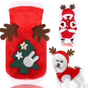 Pet autumn winter flannel warm festive dog cat elk Christmas clothes new year old man T3I51461