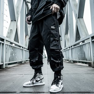 Harajuku Paratrooper Pants Men's clothes Loose Trendy Hip Hop Drawstring Cargo Pants Multi-pocket Drawstring Overalls Hip hop Z1126