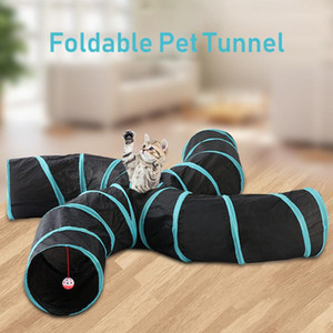 Folding Cat Tunnel 2 3 4 5 Holes Pet Tube Folding Game Toy S Type Indoor Outdoor Puppy Kitten Training ToysTube