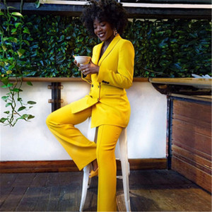 Ladies Suits Pants 1Pcs Sets Fashion Trend Bright Color Yellow Straight Trousers Suit Designer Female Winter New Casual Loose Suits Pants