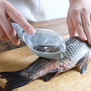 Легко очистить пластиковую очистку для чистки рыбы кухонный инструмент с крышкой для приготовления пищи утсаил рыбный масштаб ручной скребок зависанный