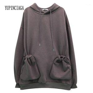 Yupinciaga Nouveau hoodie Plus Velvet Femmes manches longues lâches sauvages chaudelles chaleureuses pulls à capuche des filles adolescents hoodies1