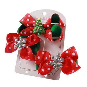 Hotsale Cute Girls' Hair Clips Set Christmas Handmade Hairbows Grosgrain Ribbon Hairgrips Santa Xmas Gift Kids Hair Accessories