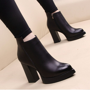 Hot Sale Fashion High heeled Martin boots Winter Coarse heel woman shoes lady Desert Boots 100% real leather High heel boots High heels