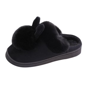 Womail Furry Rabbit Ears Women Winter Soft Slippers Plush Round Toe Women Home Flat Slippers Indoor Shoes Furry Warm Slipper 201124