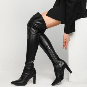 Womens Pointy Toe PU Leather Over Knee Thigh Boots Block High Heel Western Long Riding Motorcycle Shoes Plus Sz 2021