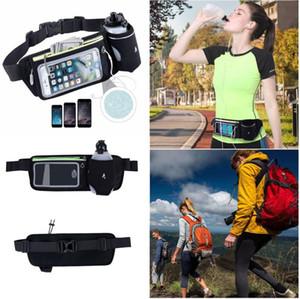 Woman's Black Waist Packs Headphone cable hole Waterproof Sport Runner Waist Bum Bag Running Jogging Belt Pouch Zip Fanny Pack