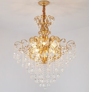 Free shipping New crystal chandelier loft living room modern American restaurant  gold round master bedroom lamps