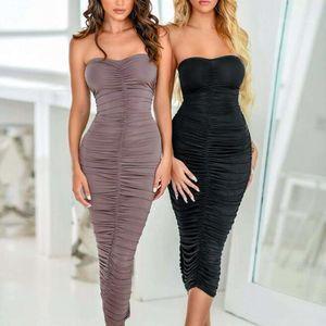 Дизайнерские повседневные платья Европейская и американская сексуальная без бретелек ночной клуб драпировки крышки тарелка тарелка новое платье без бретелек11