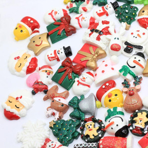 10 50 pcs Wholesale Lot Christmas Cute Kawaii Flatback Resin Cabochons Assorted Resin Xmas Decoration Charms Craft Holiday