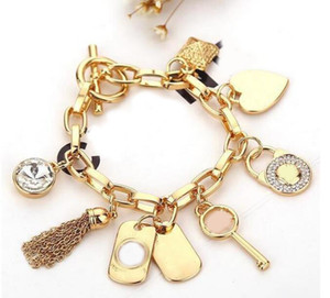 Women Fashion Jewelry Gold Silver Color Tassel Bracelet Letter Key Heart Charm Chain Bangle Bracelet