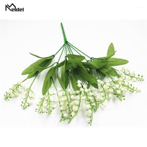 7 Branches Mini Fake Plants Artificial Valley Lily Flower Plastic Lily Flowers Bunch for Home Garden Party Wedding Decor Plants1
