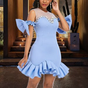 Women Party Dress Ruffles Mesh Patchwork Bead Sexy with Bowtie Lovely Christmas Event Elastic Bodycon Backless Celebrate Vestido Z1202