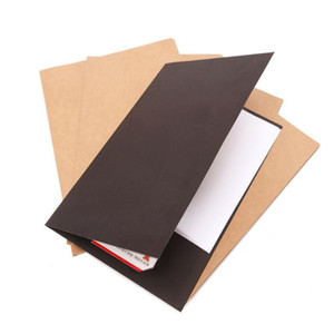 A4 Paper File Folder With Pocket White Kraft And Black Colors Paper Document Filing Bag Office Storage 22*31cm