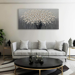 Modern Handpainted Large Gold Money Tree Flower Oil Painting On Canvas Abstract Home Wall Decor Art Picture For Living Room Gift Z1202