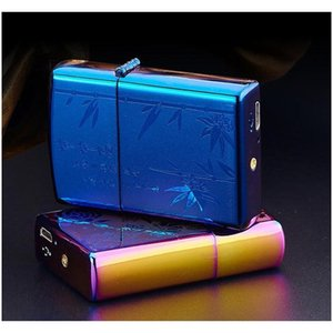 Metal Printing Portable Windproof Lighters Usb Charging Cigarette Lighter Double Fire Cross Twin Arc Pulse Elect wmtvUx pets2010