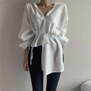 HziriP White Irregular New Lace Up Full Sleeved Hot Loose Casual Office Lady All Match Brief Stylish Women Simple Solid Shirts