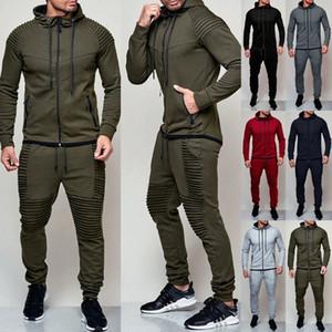 Hirigin 2 Parça Sonbahar Koşu Eşofman Erkekler Kazak Spor Seti Spor Giysileri Erkekler Spor Suit Eğitim Takım Elbise Spor Giyim T200606