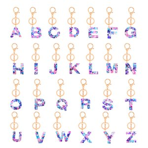 Fashion bag accessories Initial keychain gold Keyring 2020 fashion Pendant Alphabet Resin keychain gift