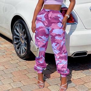 Kadınlar Yığılmış Sweatpants Camo İpli Gevşek Jogger Pantolon Polyester Kamuflaj Baskı Streetwear 2020 Kargo Pantolon Tulum