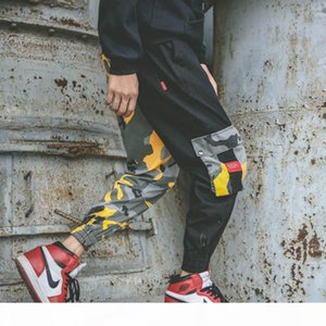ZK Camo Cargo Mens Pants Muti Pockets Trouser Hip Hop Casual Streetwear Camouflage Pants Loose Knit Running Patchwork