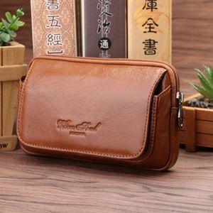 New Men's Pocket Genuine Waist Bag Pack For Fanny Wallet Leather Belt Purse Case Hip Mobile Phone Cell Fashion Flip Gimgp Scvcd