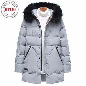 HTLB Brand New Men Winter Warm Thick Hooded Jacket Parkas Coat Men Bio Down Autumn Hat WindProof Outerwear Parka Coat
