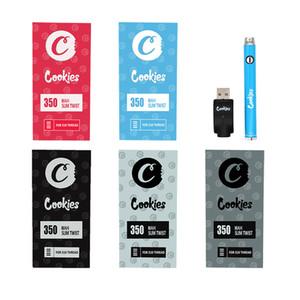 Bolinhos pré-aquecendo a bateria para carrinhos de cartucho de cookies Vape Pen 350mAh 510 Tópico Ajustável Bateria com carregador USB
