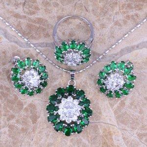 Green Cubic Cubic Zirconia Blanc Cz Argent Bijoux Ensembles Boucles d'oreilles Bague Pendentif Taille 6/7 / 8 9 10 S0425