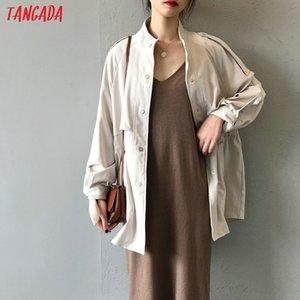 Tangada women oversized blue trench coat fashion elegant long sleeve ladies loose tops high quality ASF30 201201
