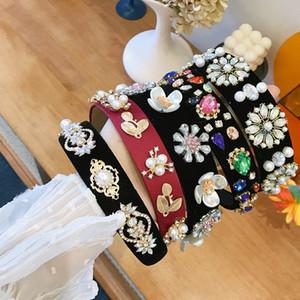 Boutique pearl children hair sticks rhinestone girls  headbands jewel diamond  headband hair accessories for kids B1517