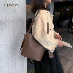 2021 New Solid Color PU Leather Women Handbags Bucket Bags for Women Design Shoulder Messenger Bags Handbags Female Travel