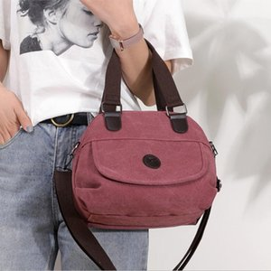 Woman Canvas Handbags Female Single Shoulder Bags Girls Crossbody Pack Vintage Solid Multi-pocket Ladies Totes Bolsas