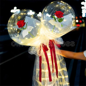 LED Luminous Balloon Rose Bouquet Transparent Bobo Ball Rose Valentines Day Gift Birthday Party Wedding Decoration Balloons 2021