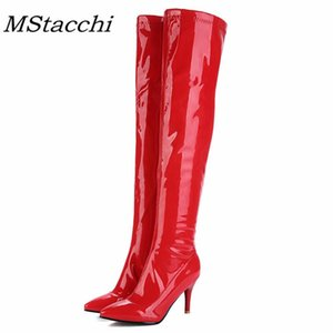 MStacchi Temperament Women Boots Pointed Toe Zipper-Side Plush Stiletto Travel Boots 2020 Sexy Winter Thigh High Botas Feminina