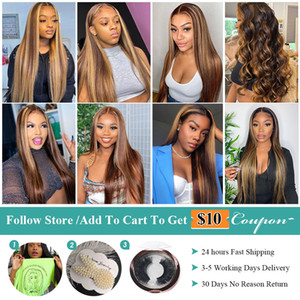 Allove Honey Blonde Lace Front Wigs Highlight Brown Lace Front Human Hair Wigs Brazilian Bone Straight Human Hair Wig Ombre Wig
