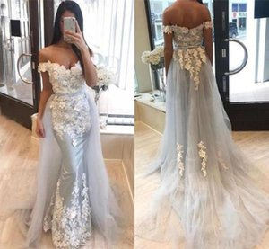 Chic Lace Applique Long Mermaid Prom Dresses Sexy Off Shoulder Evening Gowns with Detachable Train Tulle Cheap Formal Dress