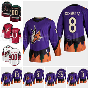Hockey Retro Retro Arizona Coyotes Jersey Men 8 Nick Schmaltz 9 Clayton Keller 35 Darcy Kuemper 81 Phil Kessel 18 Christian Dvorak Purple