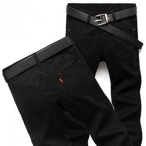New Fashion Four Season Men Jeans Slim Straight Pants Black Color