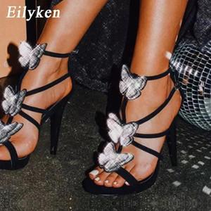 Eillken New Fashion Bowknot дизайн двойной пряжки ремешок сандалии сексуальные стриптизерши фетиш высокие каблуки женщины ZIP свадебное платье обувь # 0825