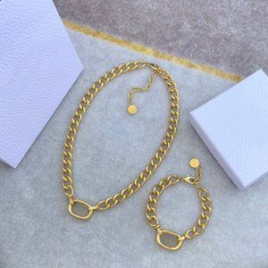 Moda redonda letra oro cadena collar pulsera chokers para hombres y mujeres amantes de fiesta regalo joyería de hip hop con caja HB1217