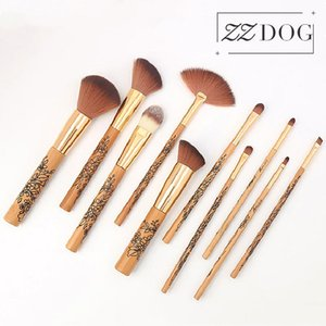 ZZDOG 10pcs Makeup Brushes Set Professional Fluffy Powder Eye Shadow Blush Brush Blending Wooden-Handle Cosmetic Beauty Tools