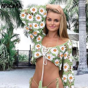 APROMS Handgefertigte Baumwolle Häkeln Lace Up Bluse-Hemd Frauen Sexy Flare Sleeve Gestrickte Cropp Top Sommer Strand Coverup Blusas 2020