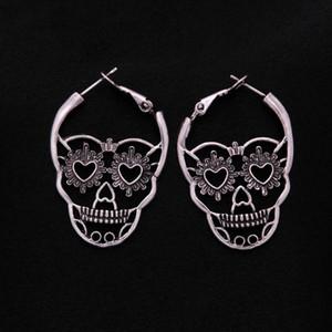 Vintage Antique Silver Color Love Heart Eyes Skull Hoop Earrings for Women Punk Party Skeleton Jewelry pendientes mujer moda
