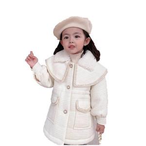 Boutique Woolen Girls Dradcoat длинные девушки пальто осень зима жемчужины дети пальто детские пальто детей верхняя одежда для девочек верхняя одежда розничная продажа B3199