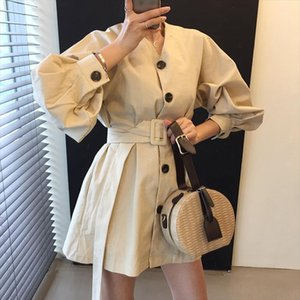 Japanese and Korean style womens 2019 new v neck loose waist long sleeved shirt long lantern sleeve dress