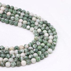 1Strand Lot 4 6 8 10 12mm Natürliche grüne Spot Steinperle Runde lose Perlen Spacer Perlen für Schmuckherstellung DIY Bracelet H Jllvgn