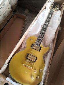 Fabrika Goldwares, Beyaz İnci Kakma, Pickguard, HH Pickups ile Fabrika Özel Altın Elektro Gitar,